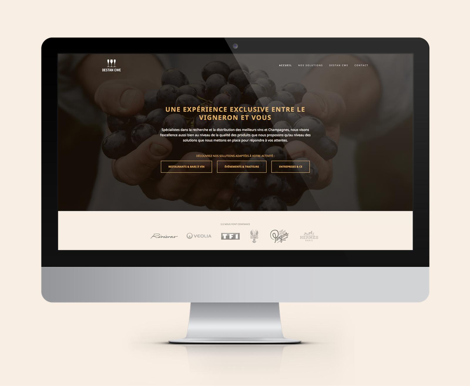 Page d'accueil du site web de Destan réalisé par le Studio DPE