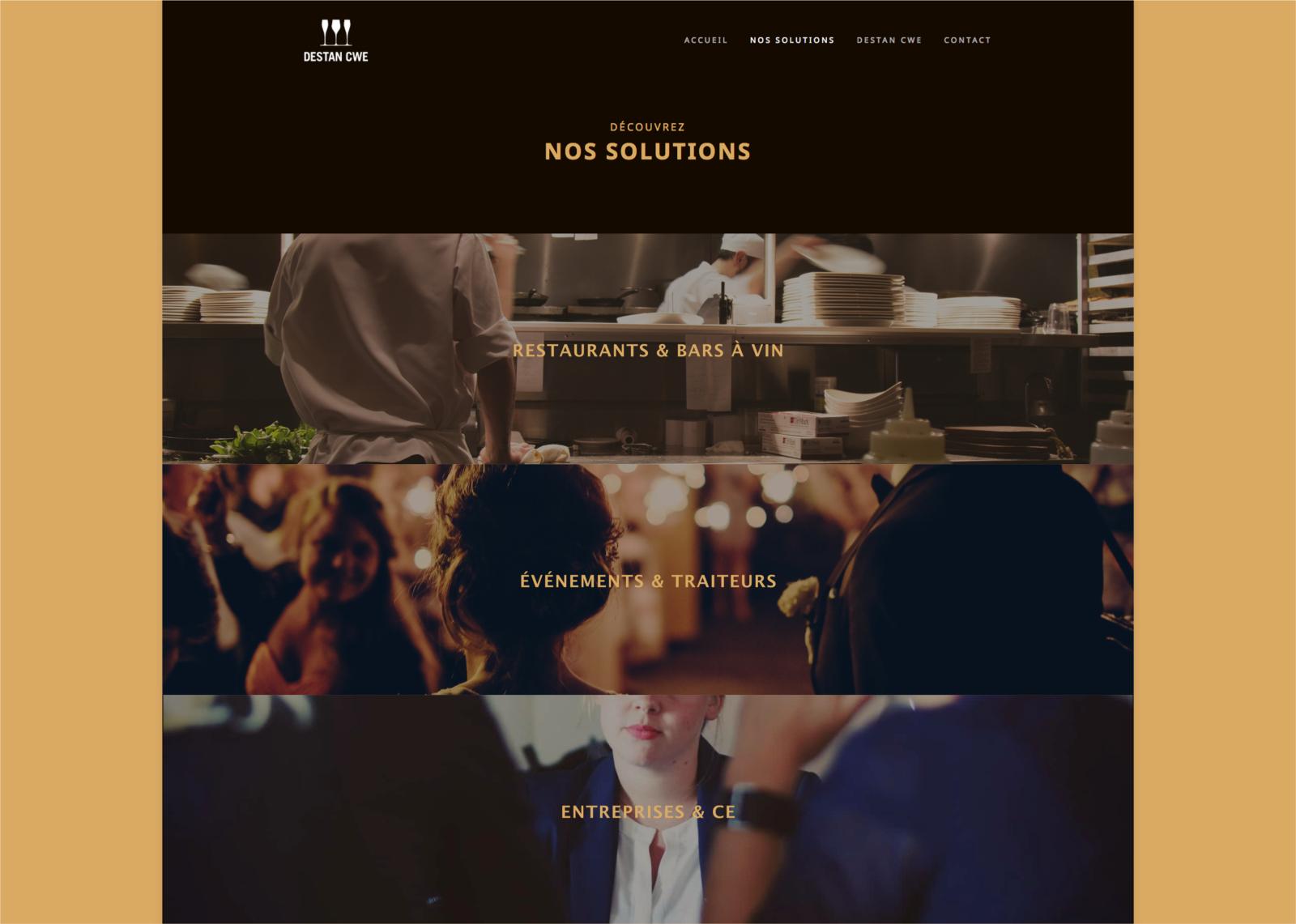 Page des solutions du site web de Destan réalisé par le Studio DPE