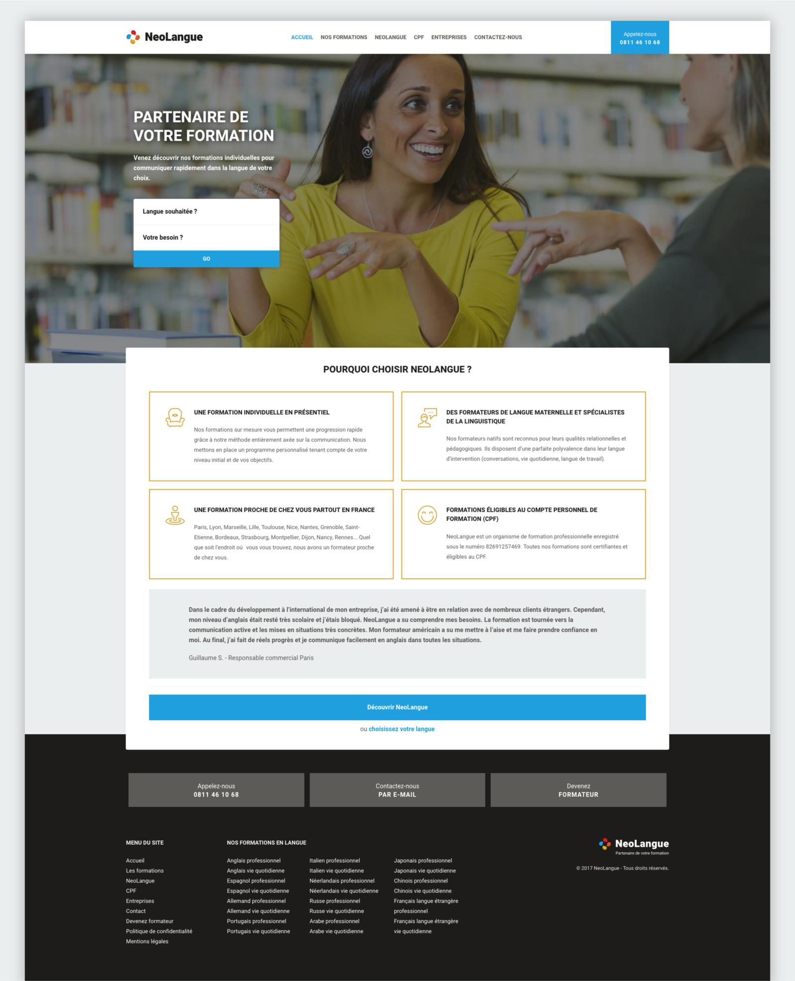 La page d'accueil du nouveau site web de NeoLangue par le Studio DPE