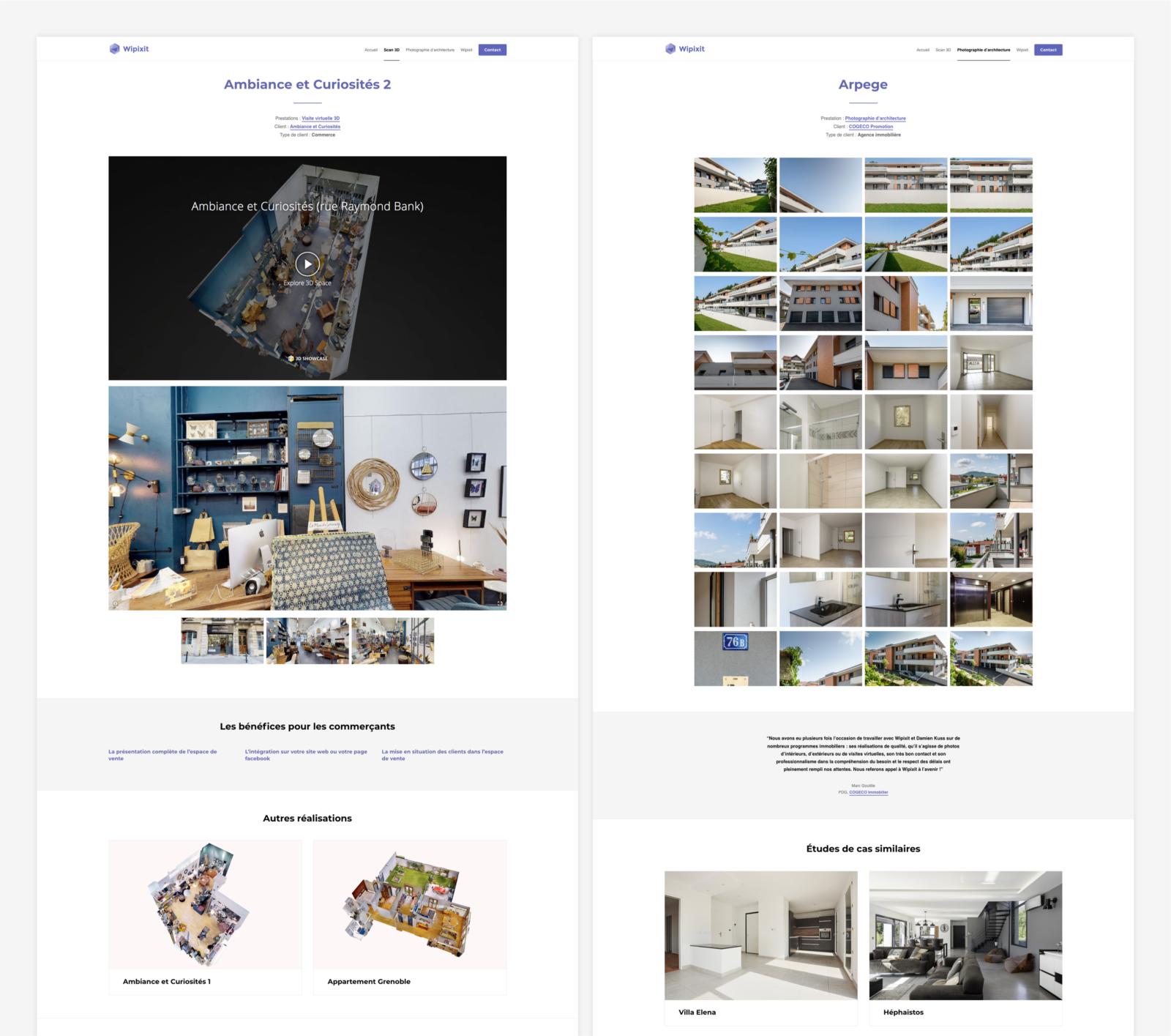 Pages d'étude de cas pour Wipixit par le Studio DPE