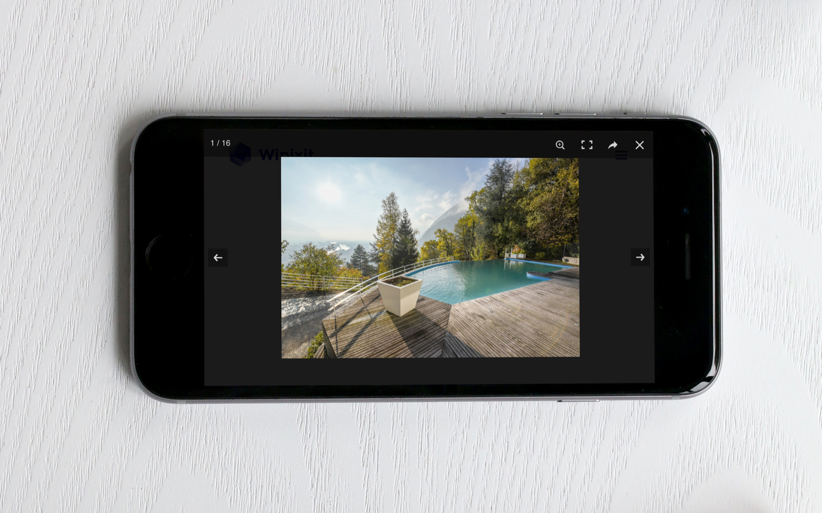 Visualisation des photos du site de Wipixit sur smartphone