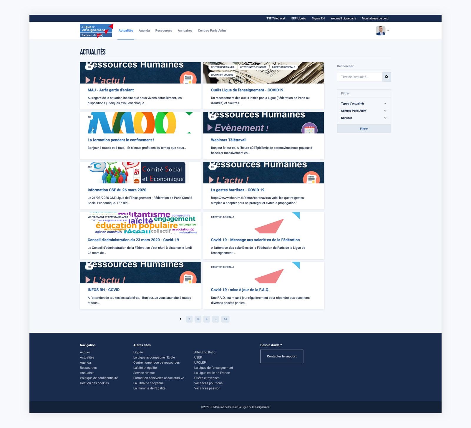 Page des actualités sur l'intranet de la Ligue Paris.