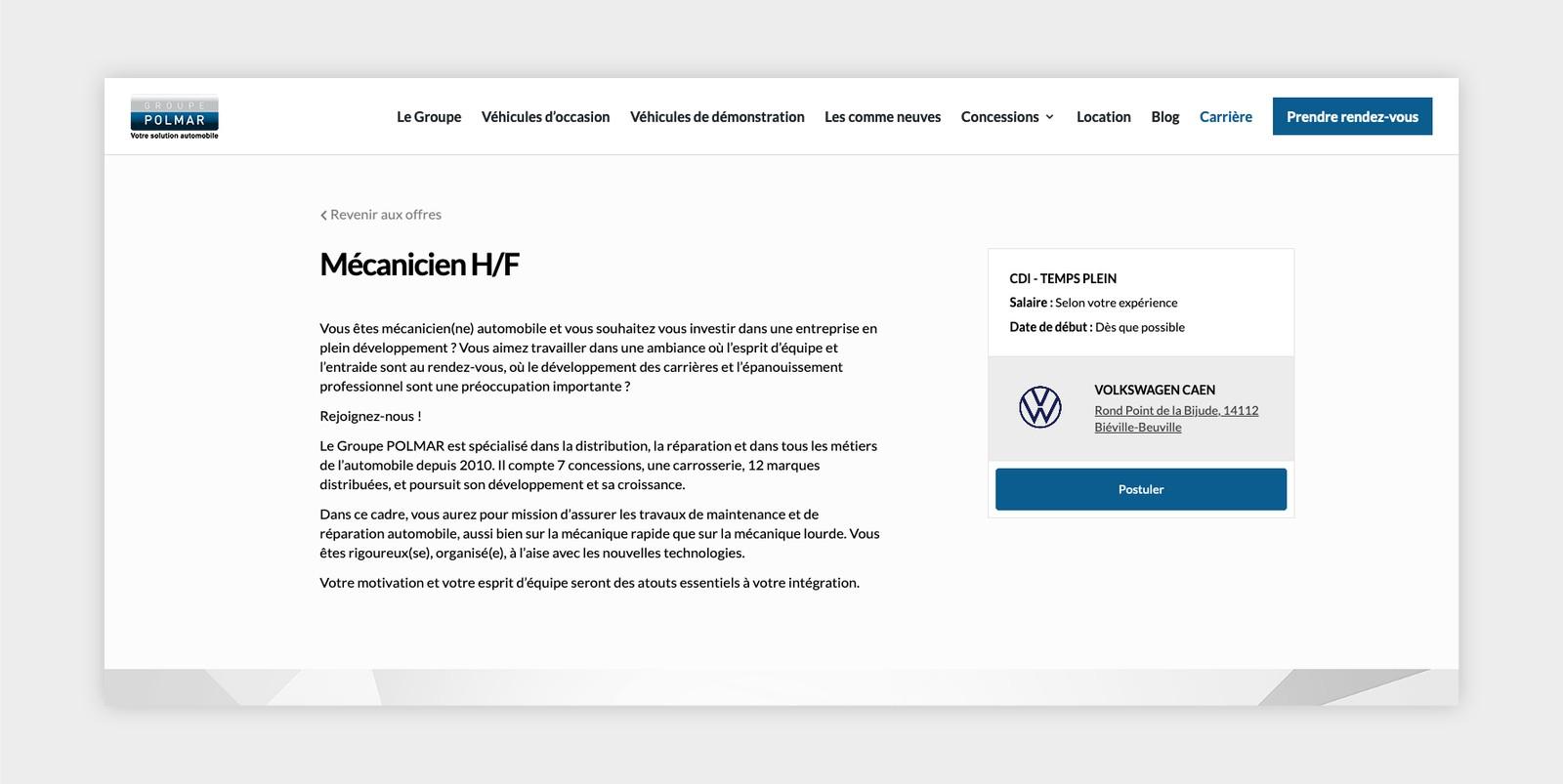 Affichage offre d'emploi - Développement Wordpress