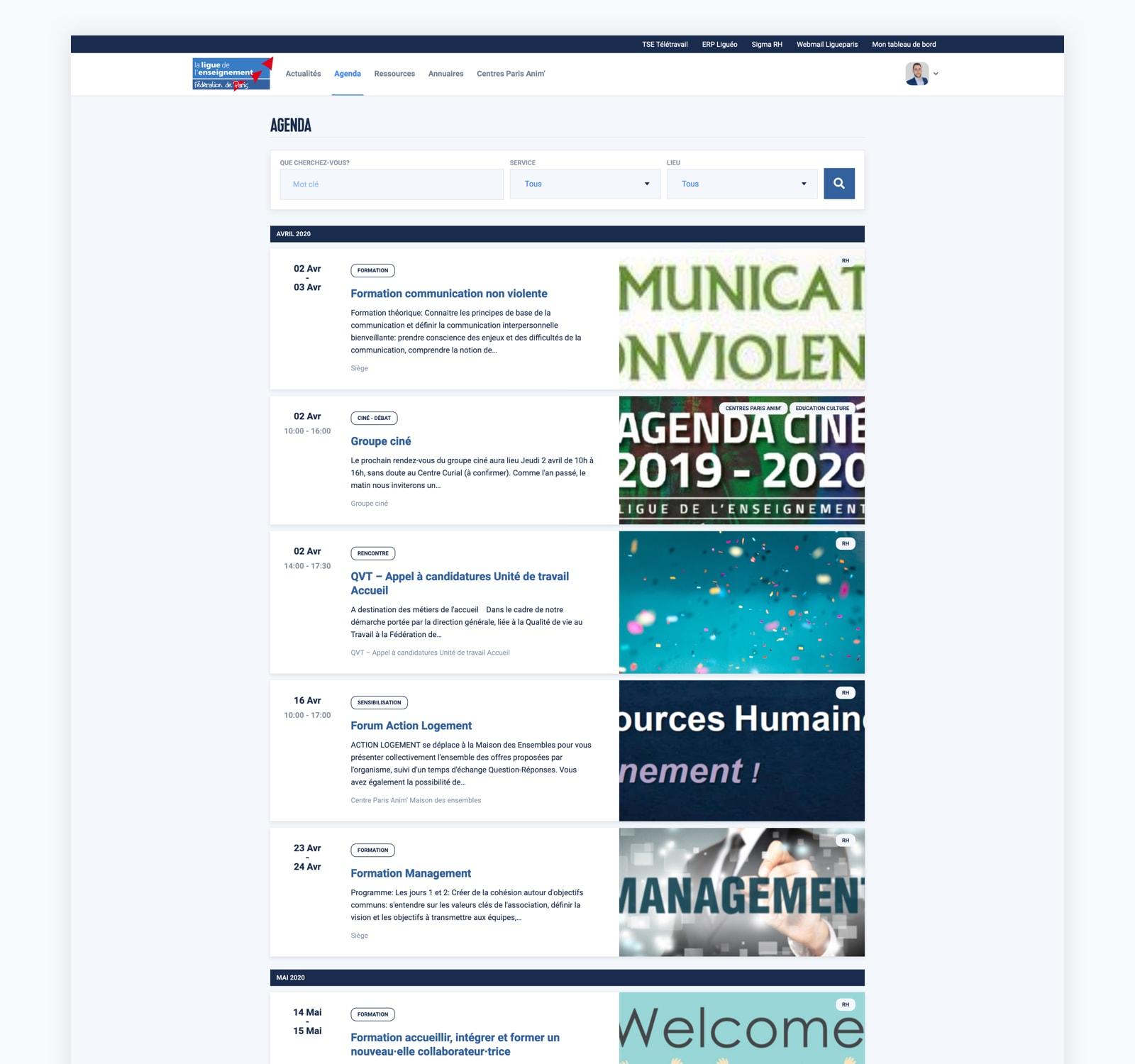 Page des événements sur l'intranet de la Ligue Paris.