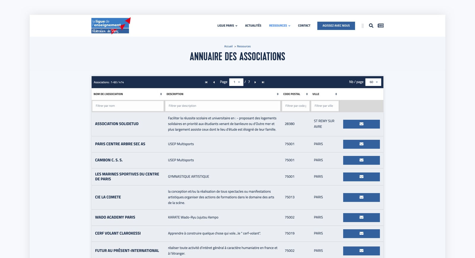 Module d'annuaire des associations sur le site web Wordpress de la Ligue Paris