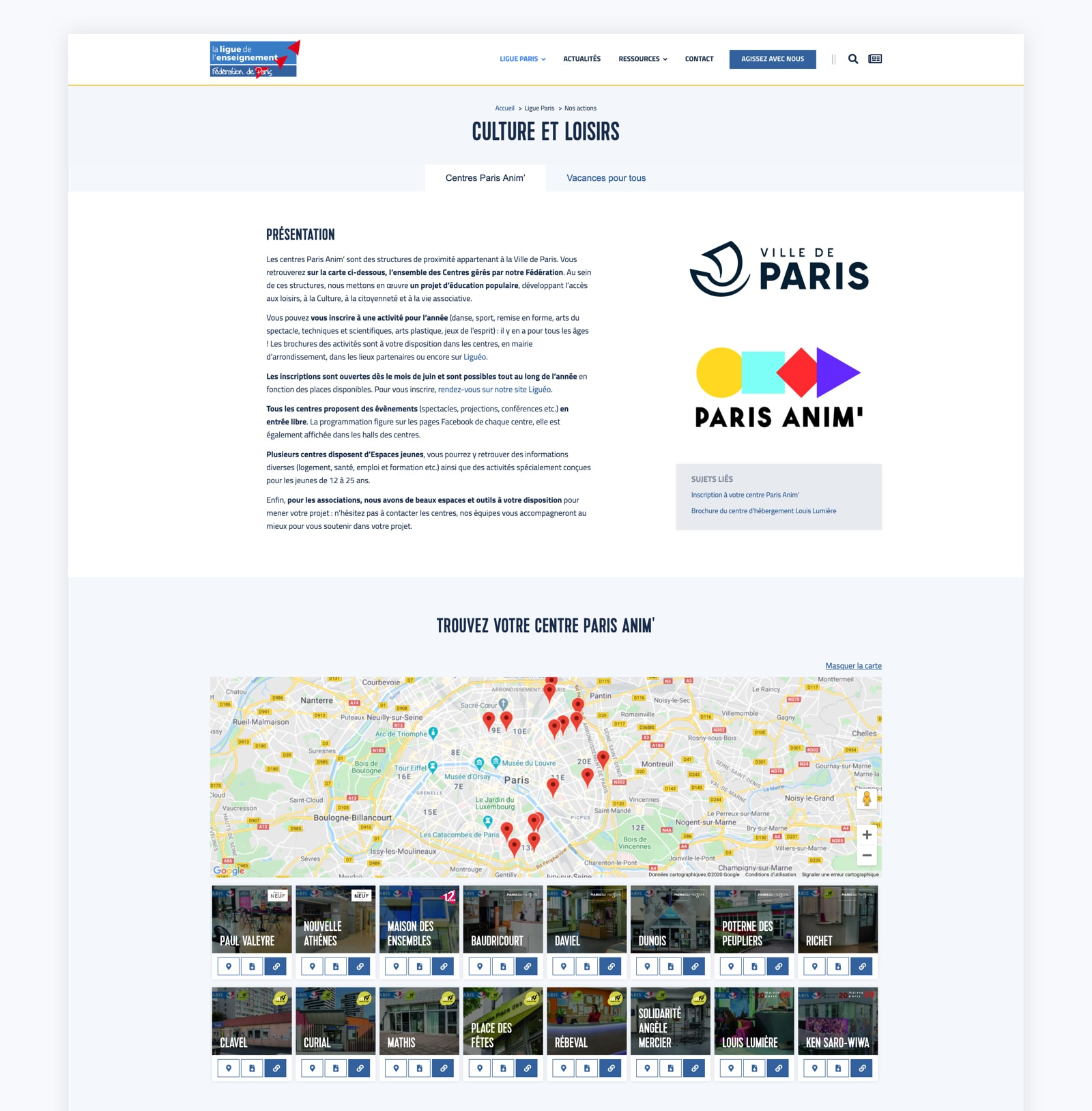 Les centres Paris Anim sur la refonte du site Wordpress de la Ligue Paris