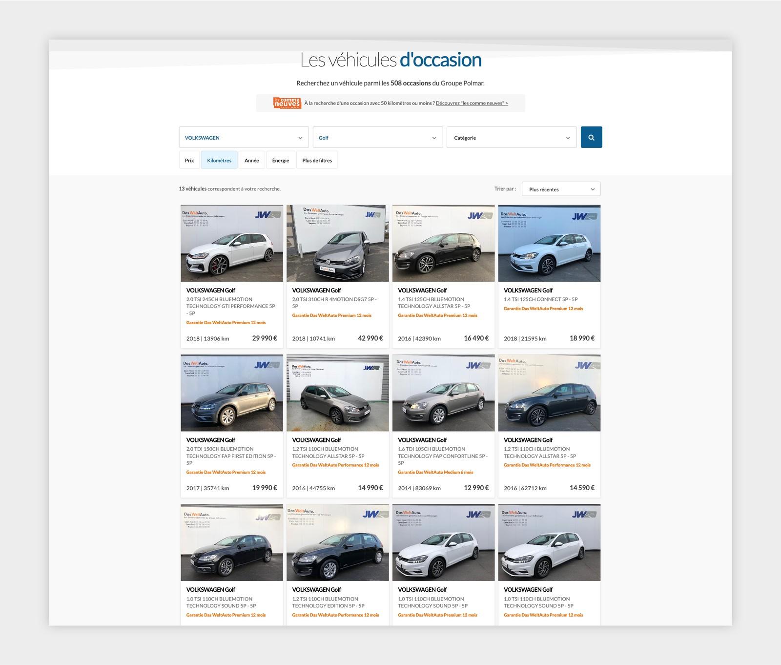 Liste des véhicules d'occasion du Groupe Polmar