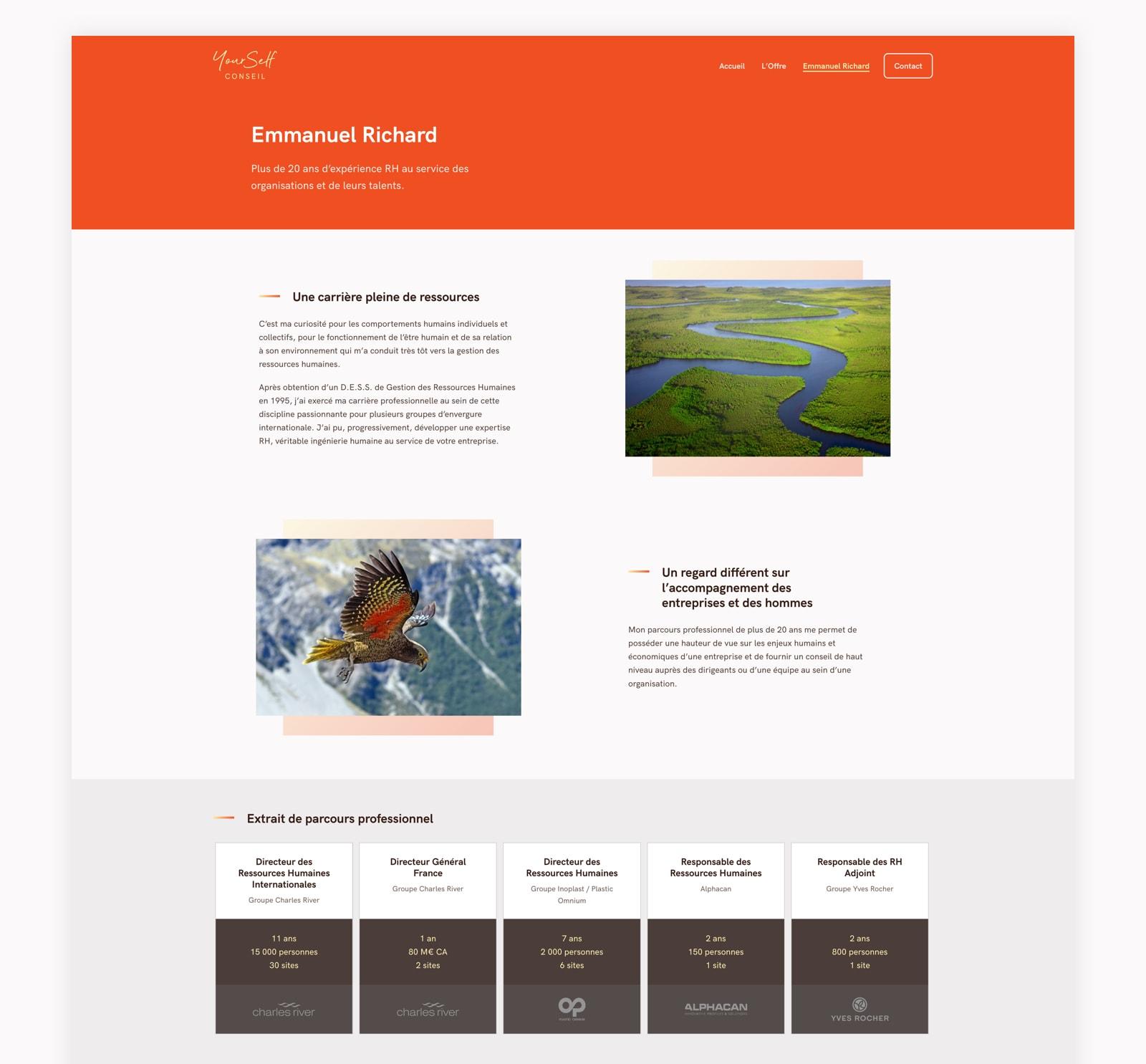 Page À propos du site web de YourSelf Conseil
