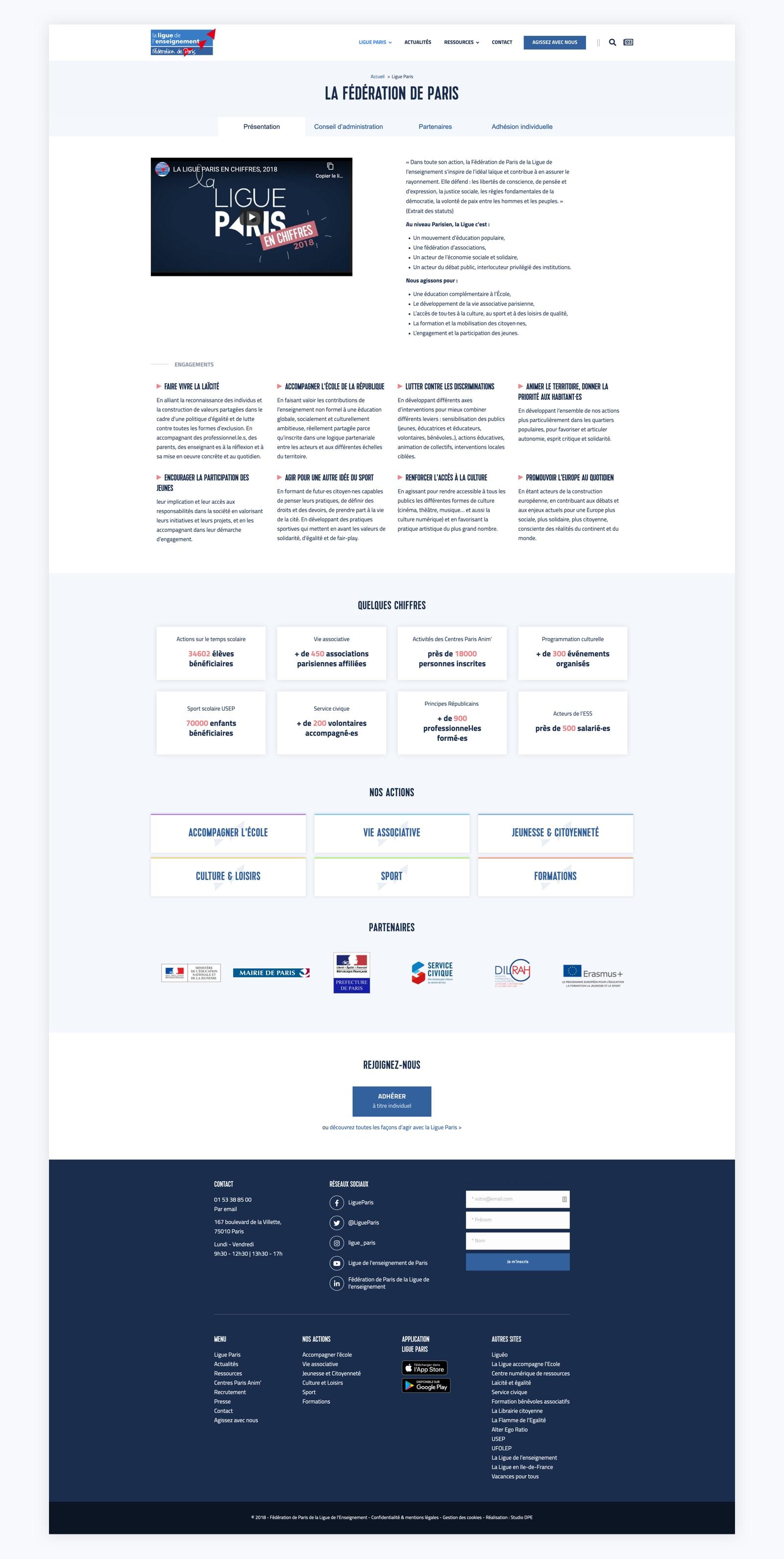 Page de présentation de la Ligue Paris pour la refonte du site web.