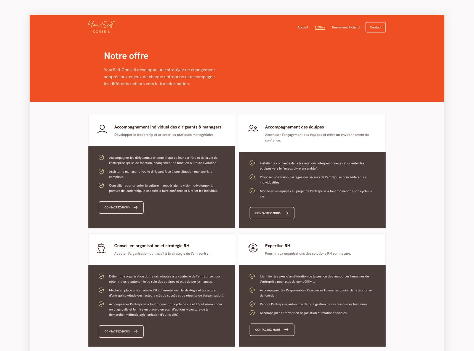Page services du site web de YourSelf Conseil
