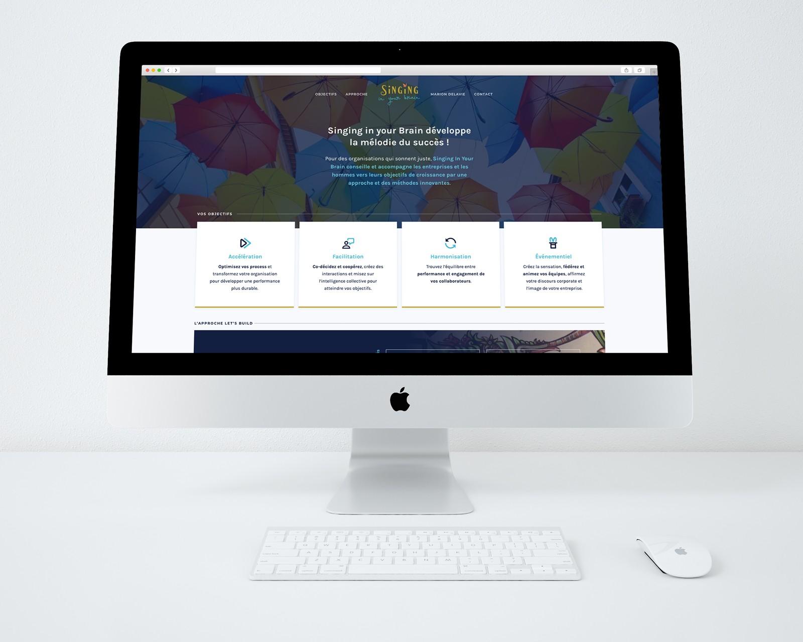 Page d'accueil sur la refonte du site web de Singing in your Brain