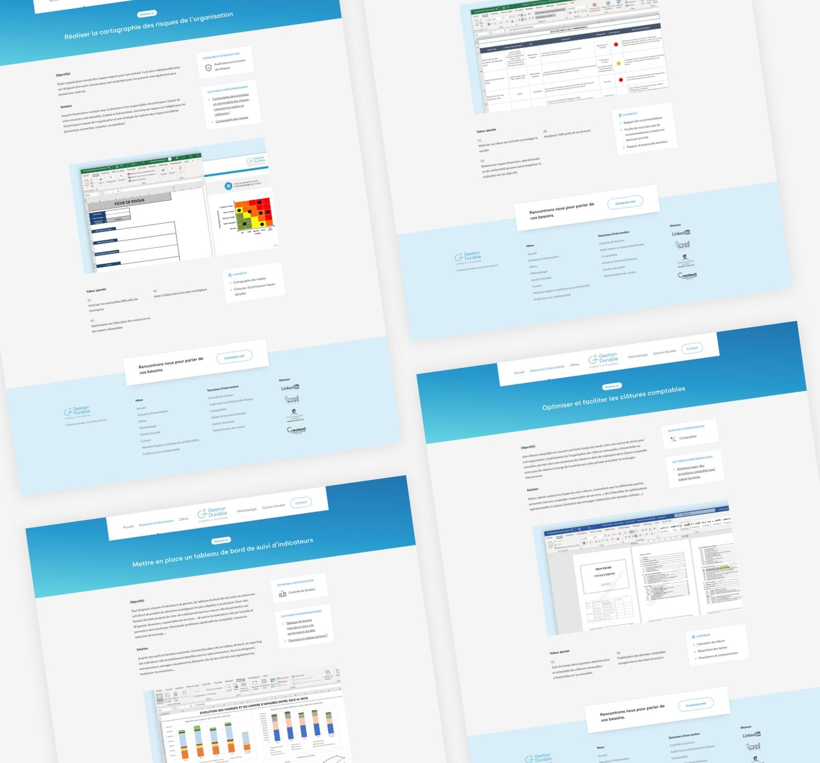 Pages d'études de cas sur le site internet de Gestion Durable