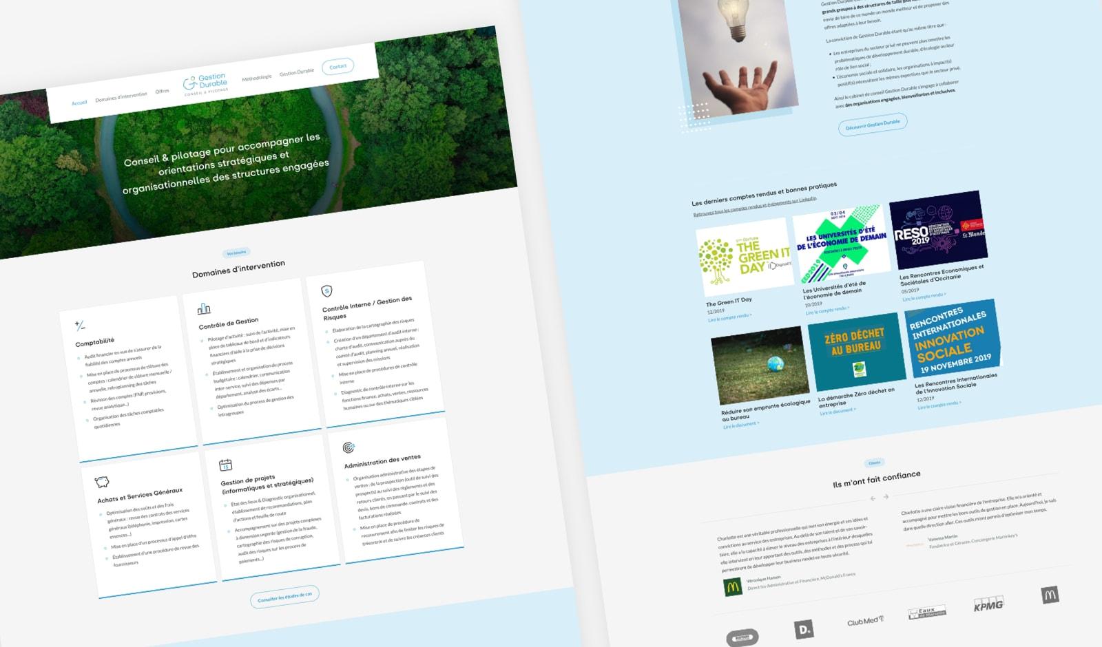 Page d'accueil du site web de Gestion Durable